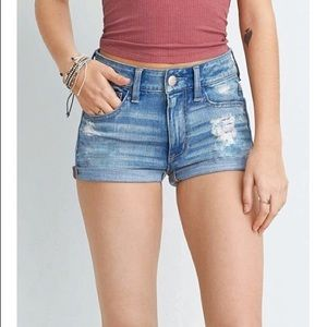 AE Light Distressed Jean Shorts